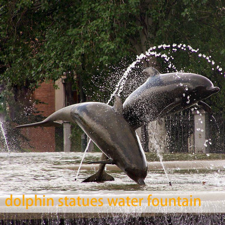 Dolphin bronze fountain sculpture