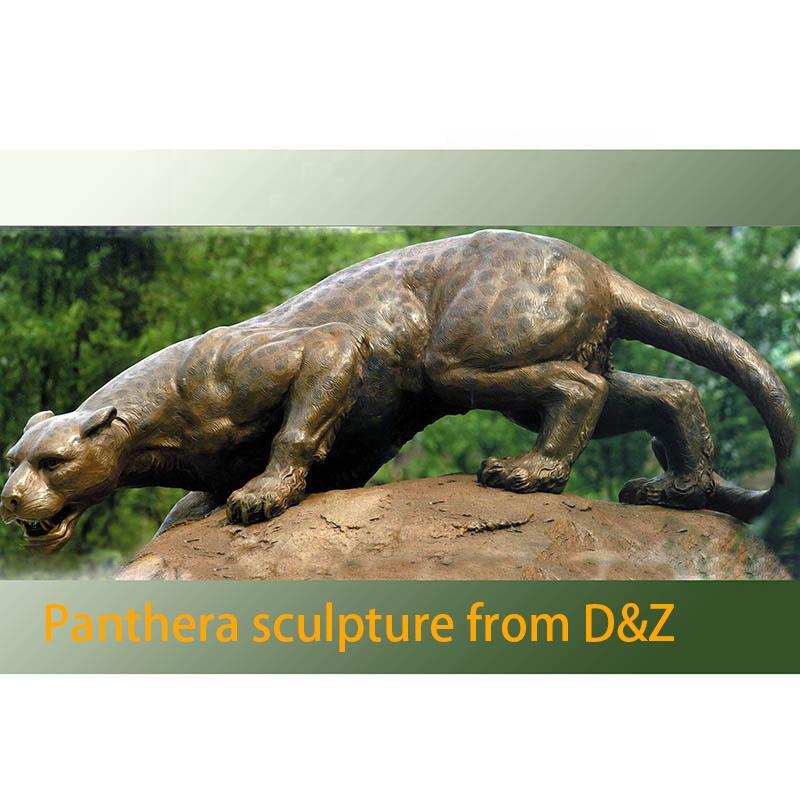 Garden bronze leopard sculpture