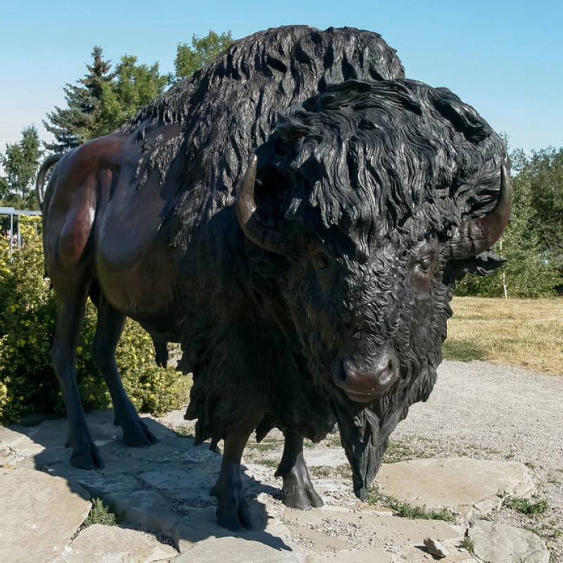 Black bronze bull sculpture