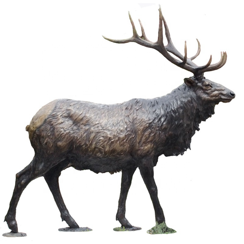 Garden elk bronze sculpture