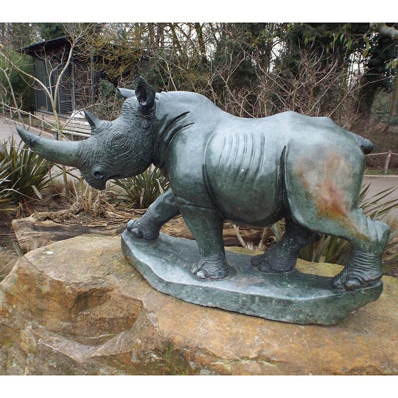 Garden rhino bronze sculpture