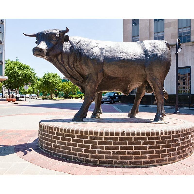 Garden bull bronze sculpture