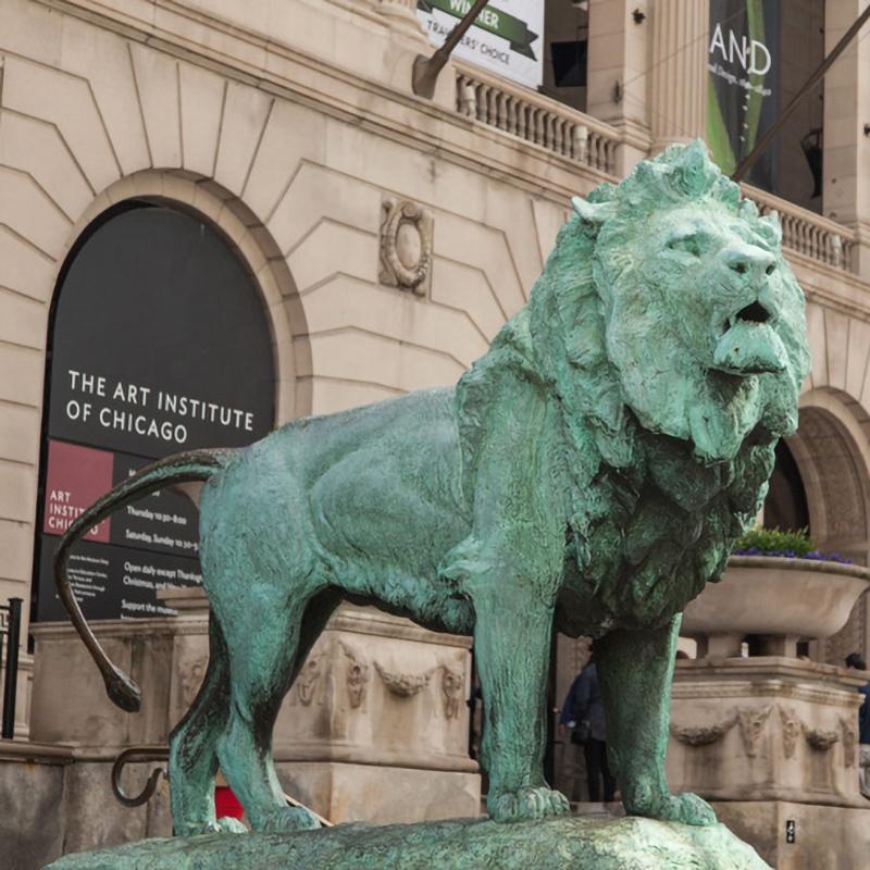 Large lion bronze sculpture