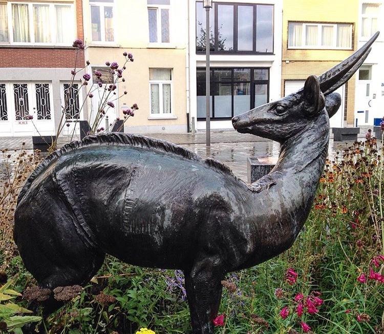 Black antelope bronze sculpture
