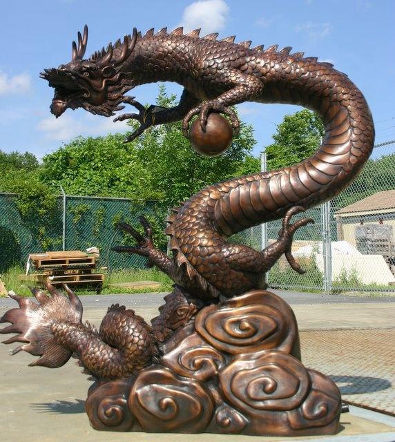 Large dragon bronze sculpture