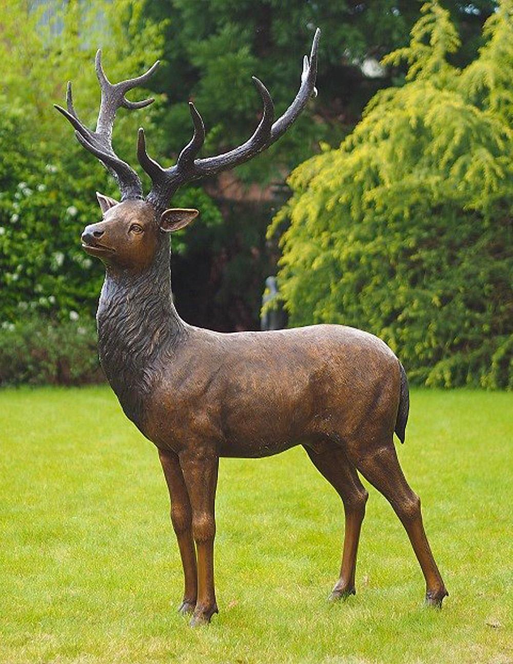 Garden bronze deer sculpture