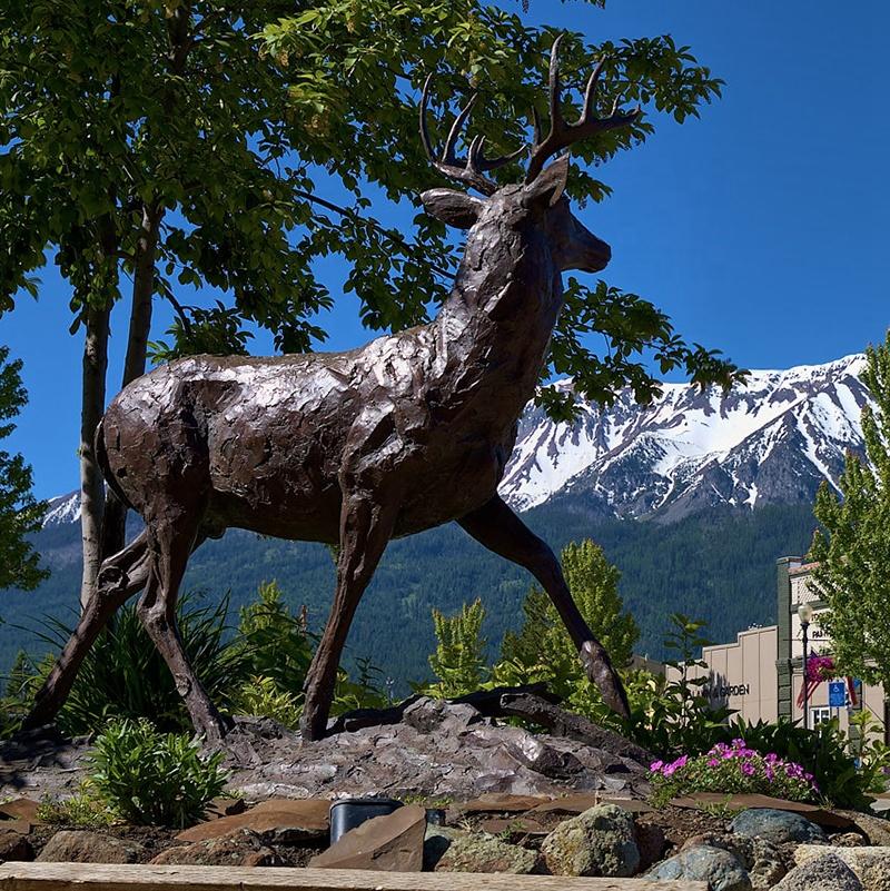 Garden black deer sculpture