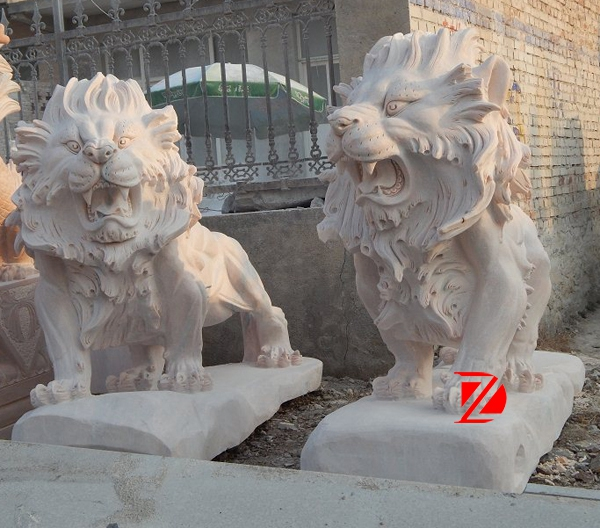 Large square stone lion sculpture
