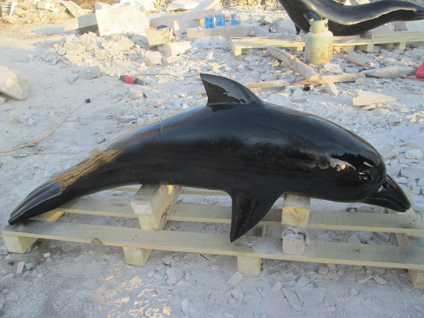 Black marble dolphin
