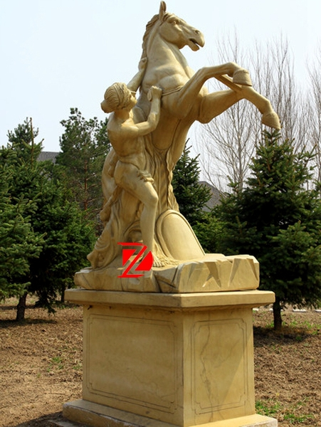 Horse and women stone sculpture