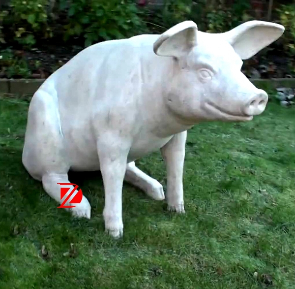Outdoor pig stone sculpture