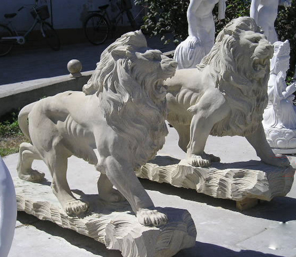 Garden large lion stone sculpture