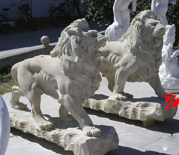 Garden large lion stone sculpture