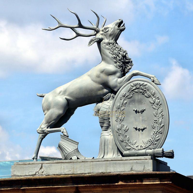silver deer sculpture bronze statue