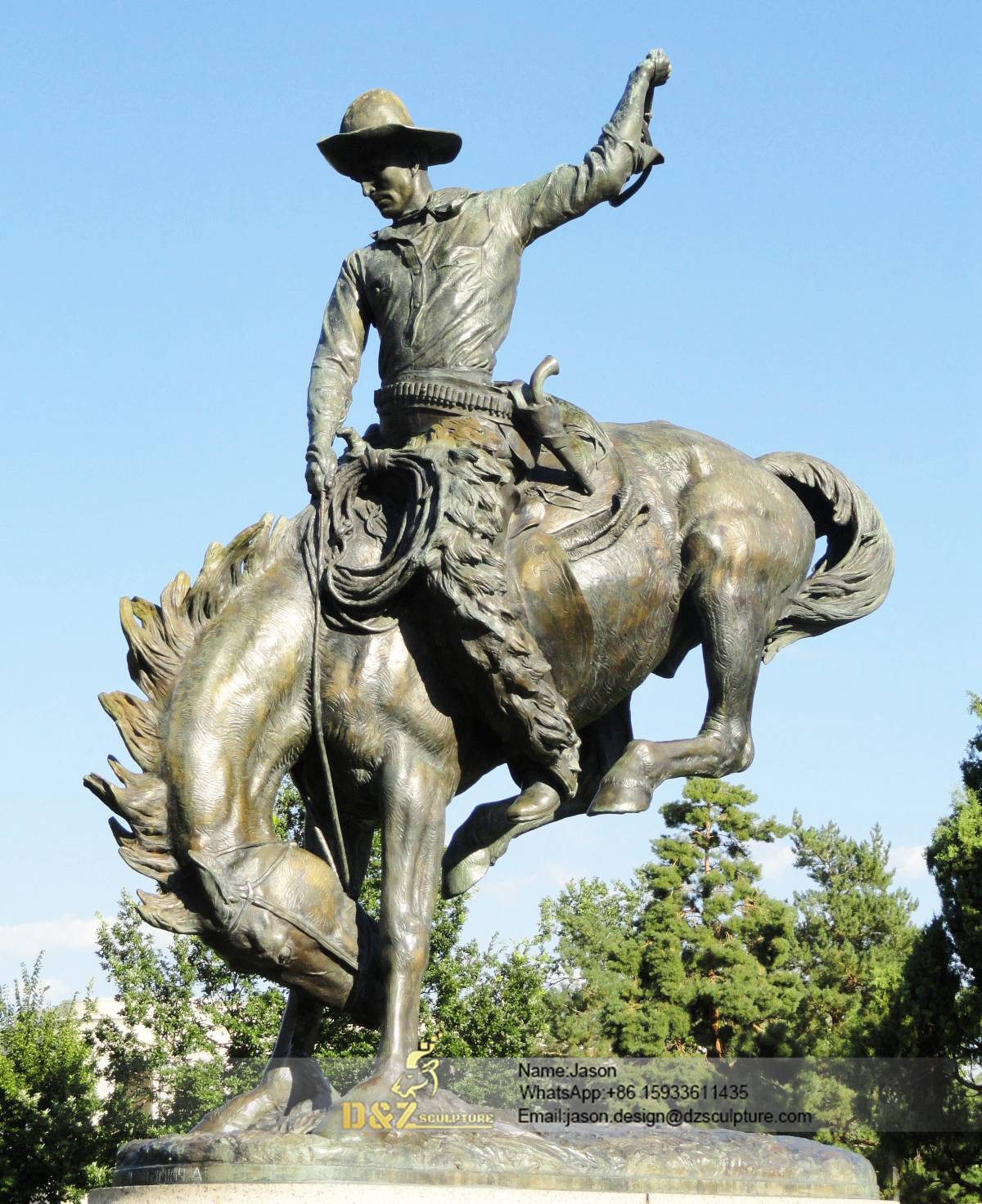 Statue monument of cowboy horse