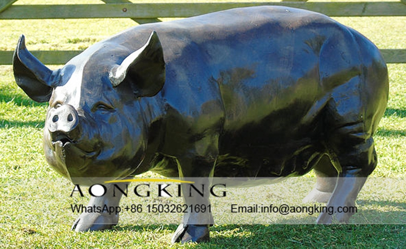Large Standing Metal Pig Sculpture