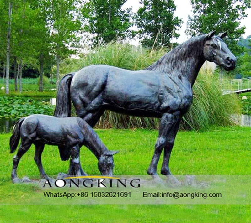 bronze horse mare with pony statues