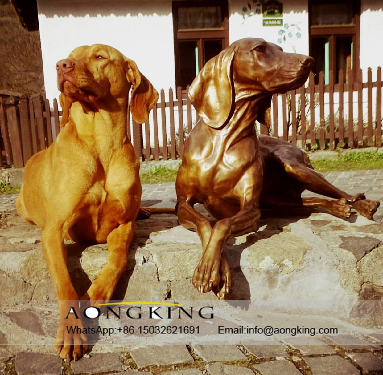 dog statue copper
