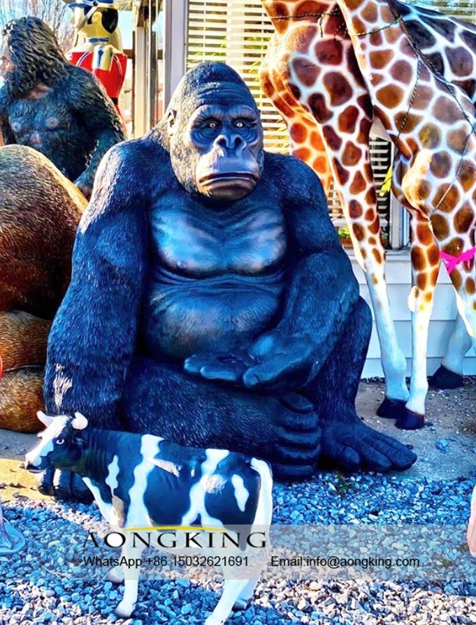 gorilla metal statue