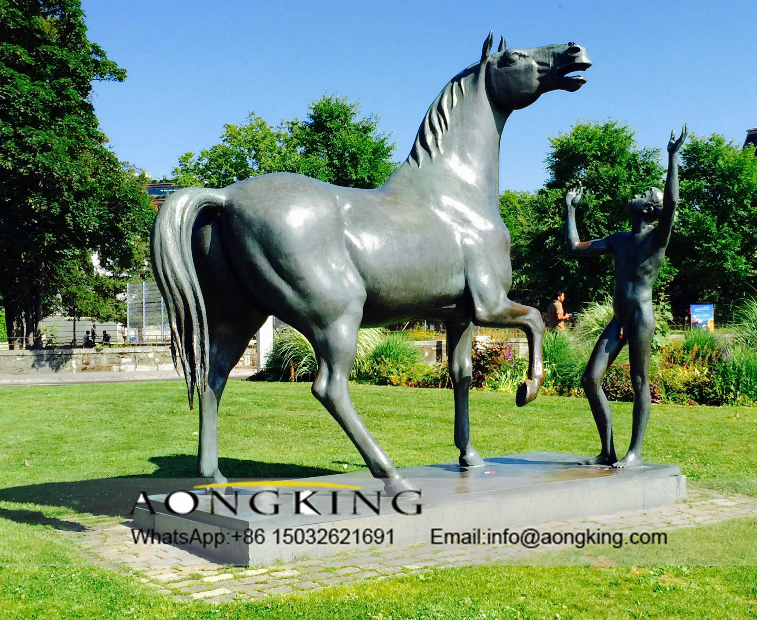 horse statue with naked man