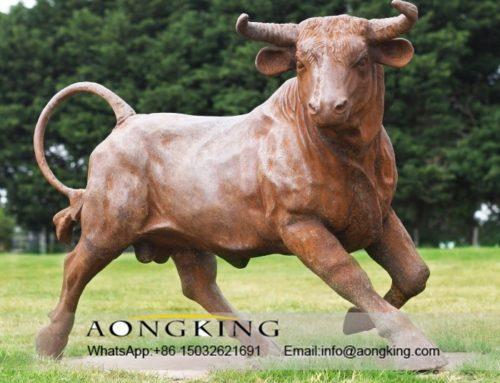 Rustic iron bull sculpture