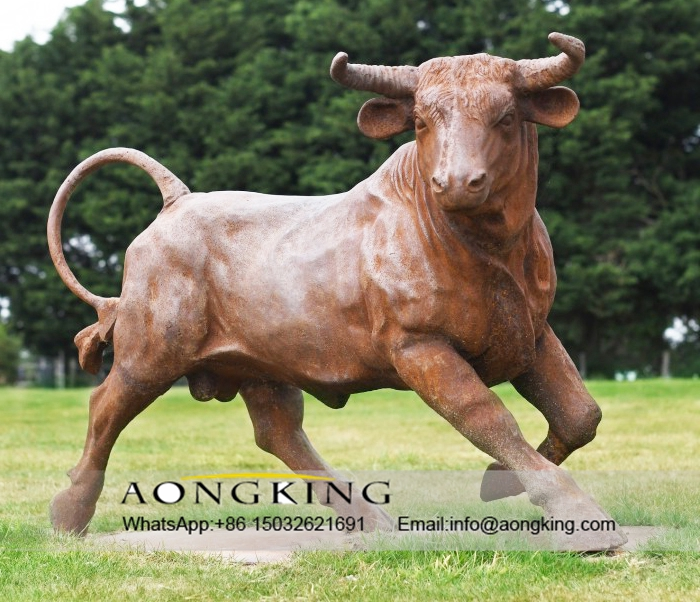 rustic iron bull sculpture