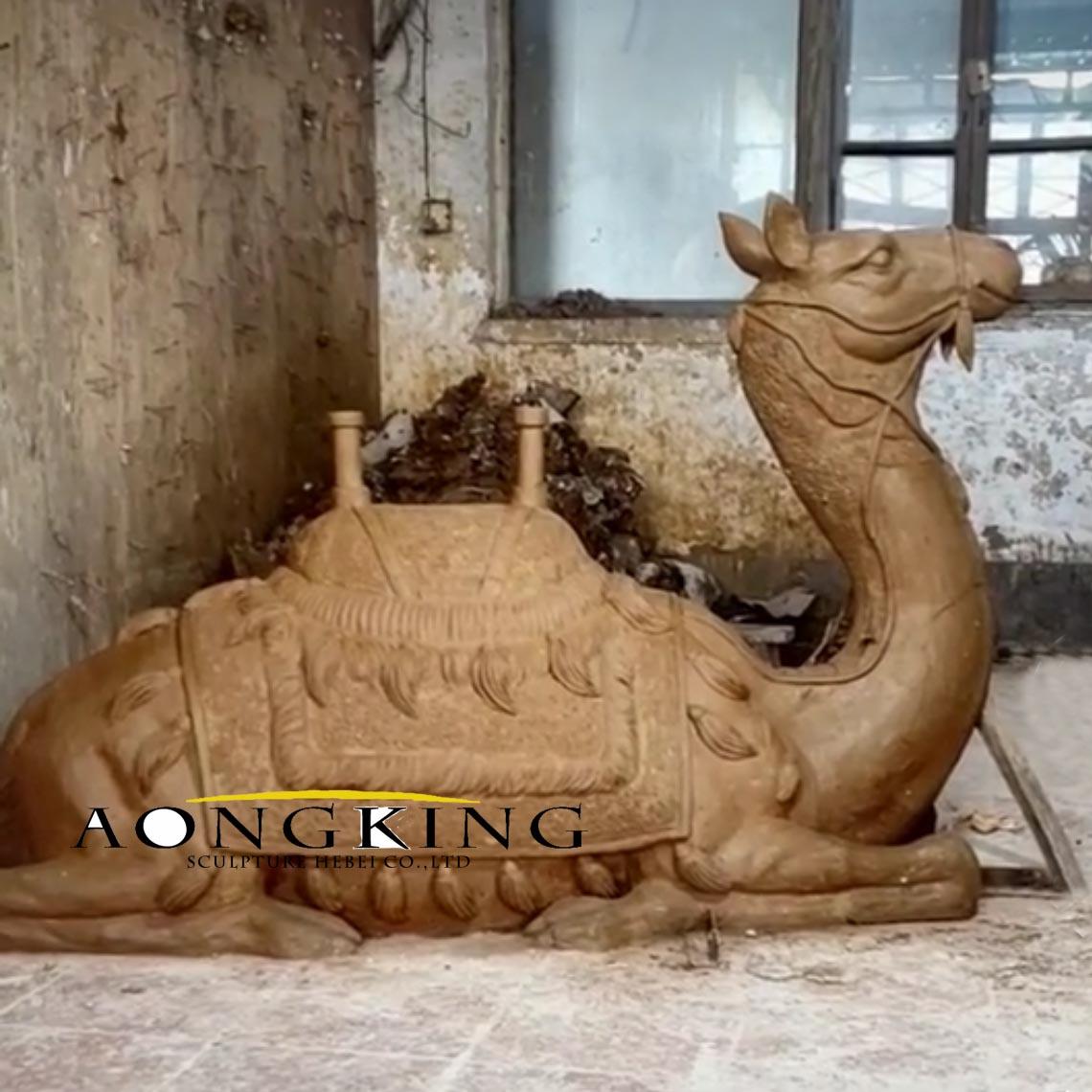 Hand cast camel sculpture