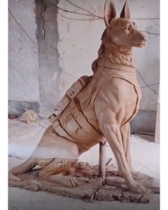 bronze dog statues that look real