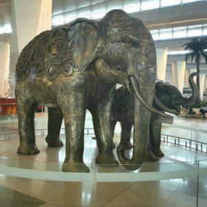 large bronze elephant statue indoor