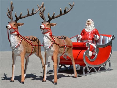 reindeer with Santa Claus