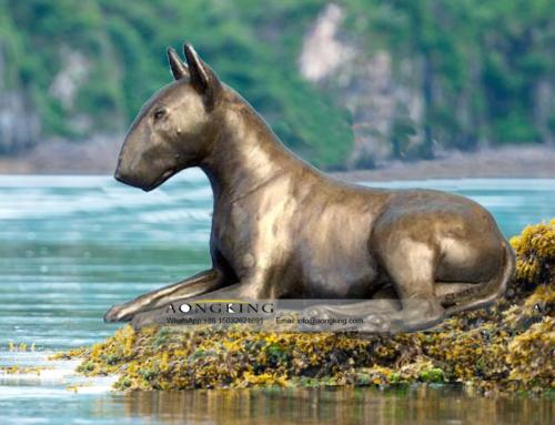 Sitting Bronze Decoration English Bull Terrier Sculpture