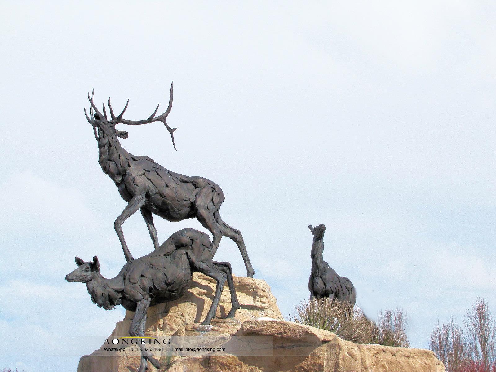Good Sale Standing Bronze deers statue for wild zoo animals