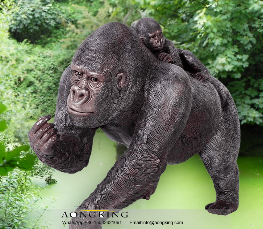 Distinctive animal silverback gorilla Bronze sculpture