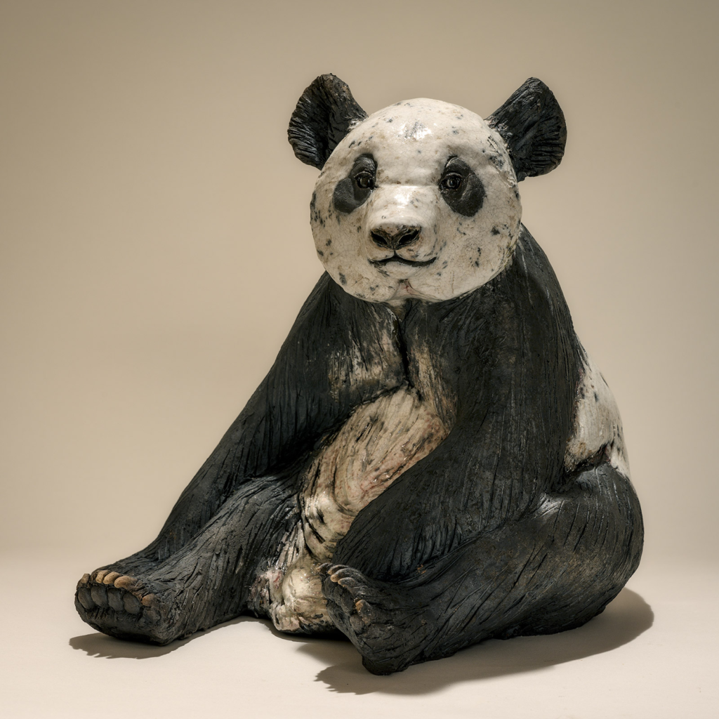 Lovely Hand Sculpted Bronze Life Size Exotic Animal Panda Statue