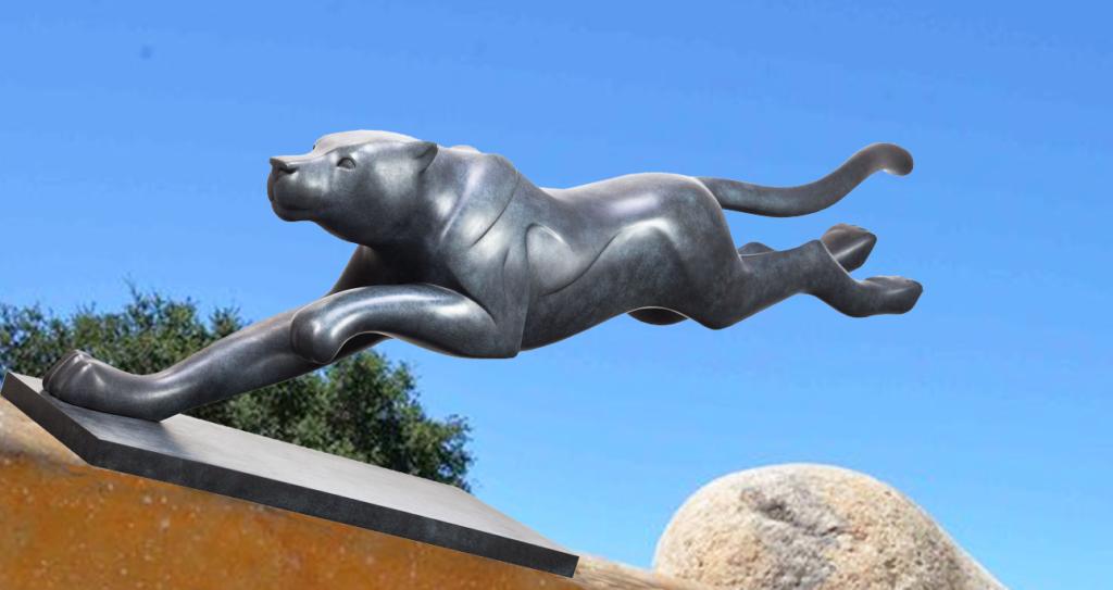 Bronze Running Fastest Animal in the World Cheetah Statue