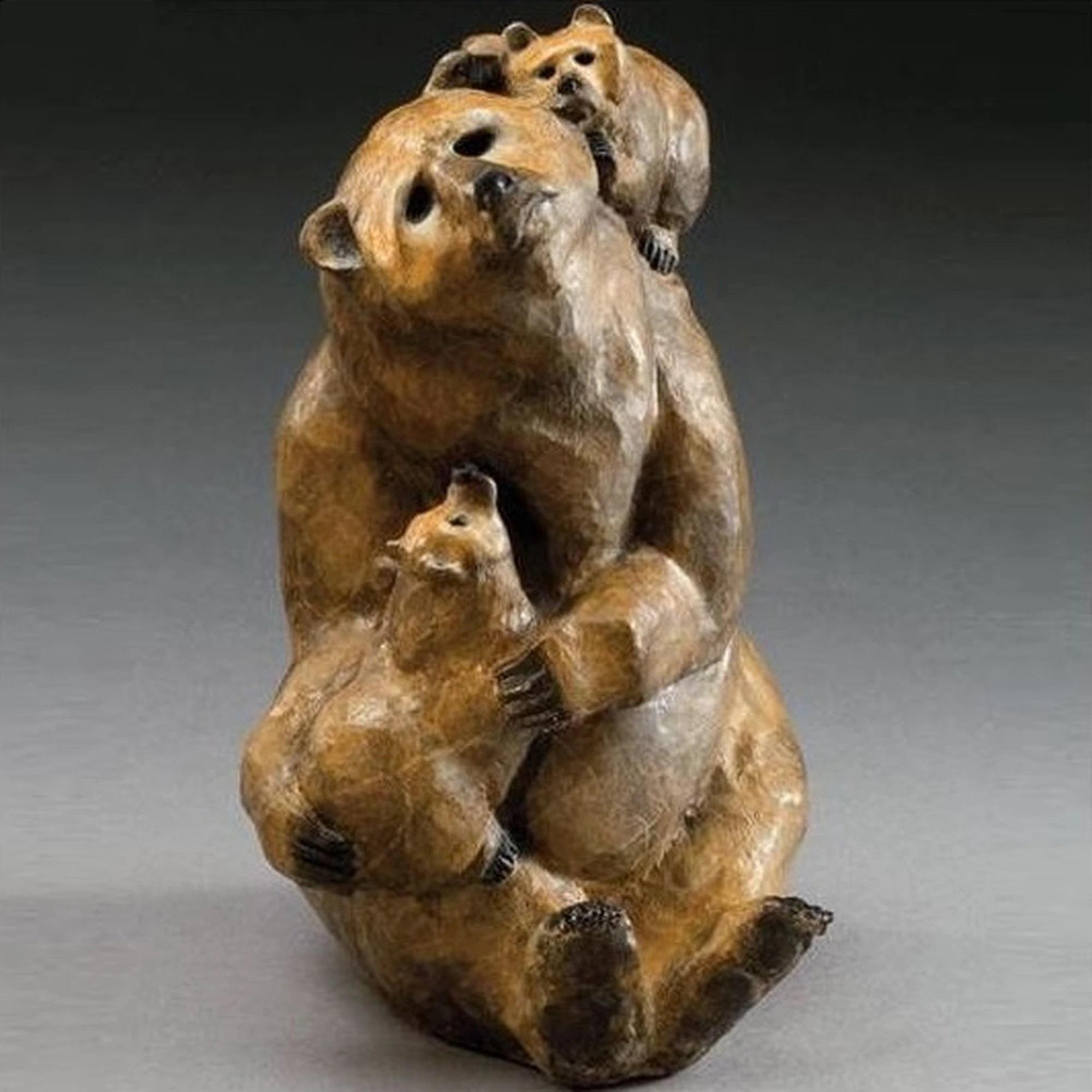 A Family of Bronze Lovely Kodiak Bear Sculpture for a Decor
