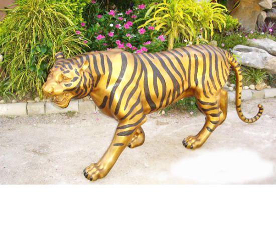 Bronze Large Life Size Open Big Mouth Fastest Animal Tiger Statue for Decor