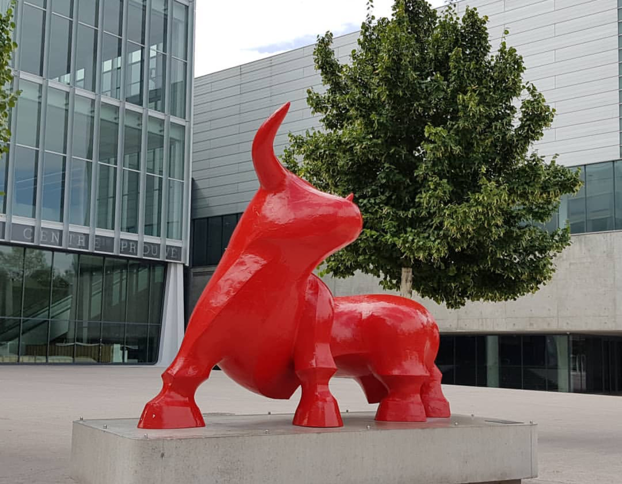 Public Art Animal Red Bull Large Bronze Sculpture