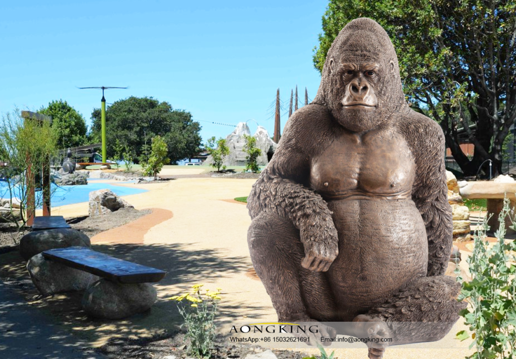 Bronze Life Size Outdoor Decoration Koko the Gorilla Statue for Animal Clinic