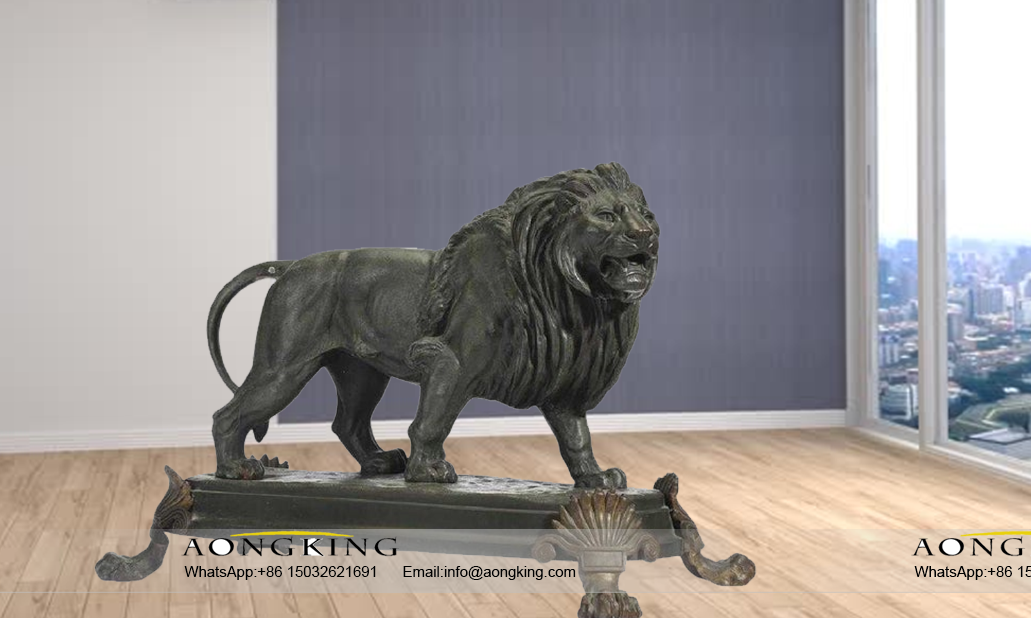 19th century french patinated bronze copper lion statue