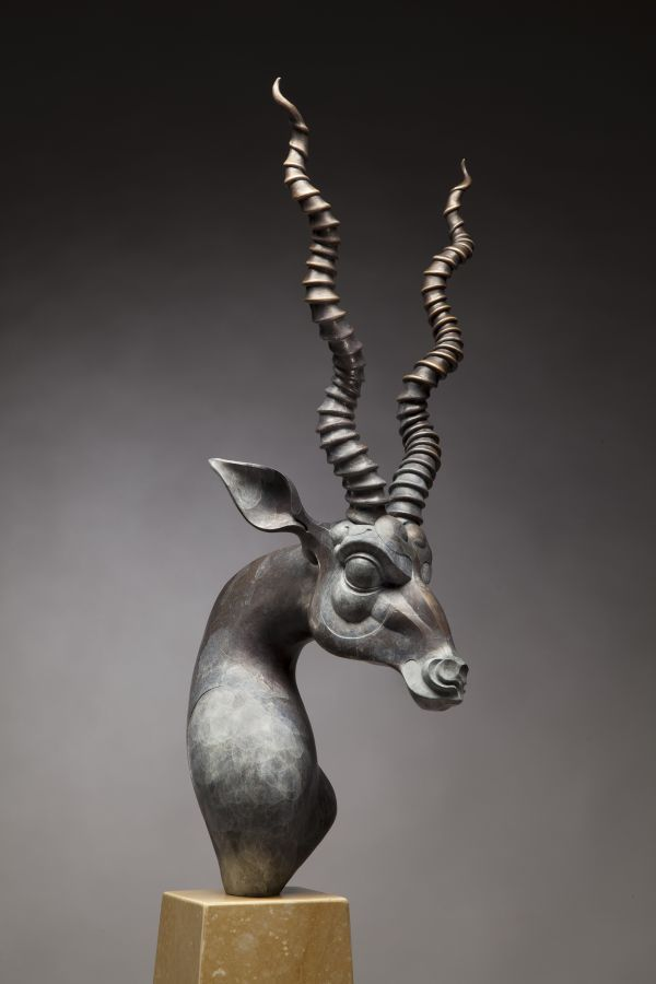 The Art of Animal Head of Black Buck with Long Horns Statue