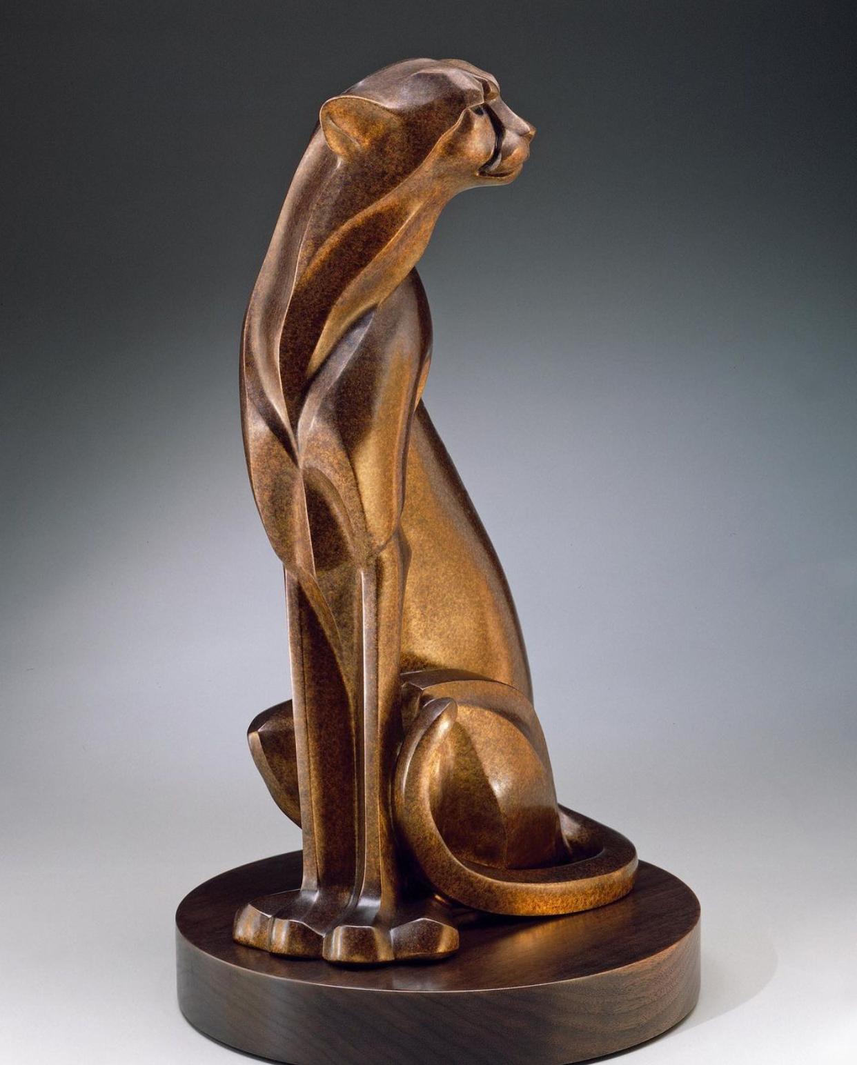 Animal Home Decoration Rosetta Seated Cheetah Bronze Statue