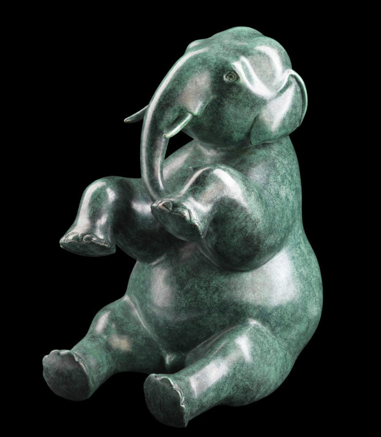 Funny Home Sitting Decoration Elephant Bronze Statue