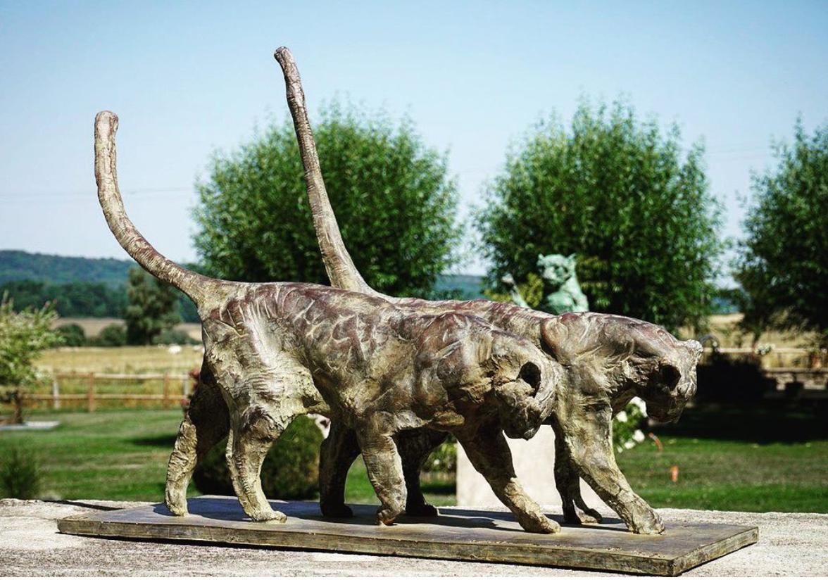 Walking Side by Side Two Leopards Bronze Sculpture