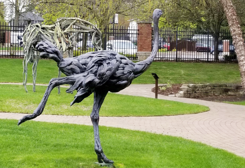 Jumping Bronze Large Outdoor Ostrich Statue for Animal Medical Center
