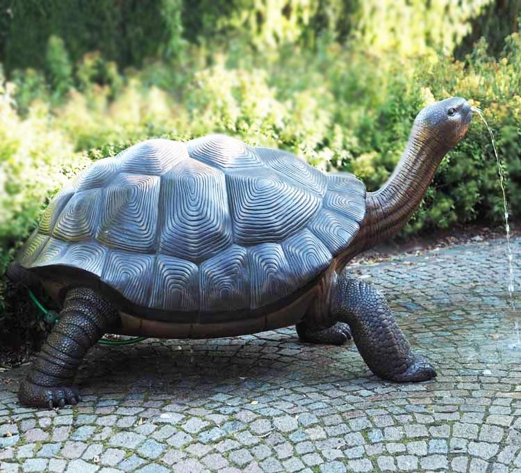Creative large box turtle Fountain Bronze statue for petting zoo