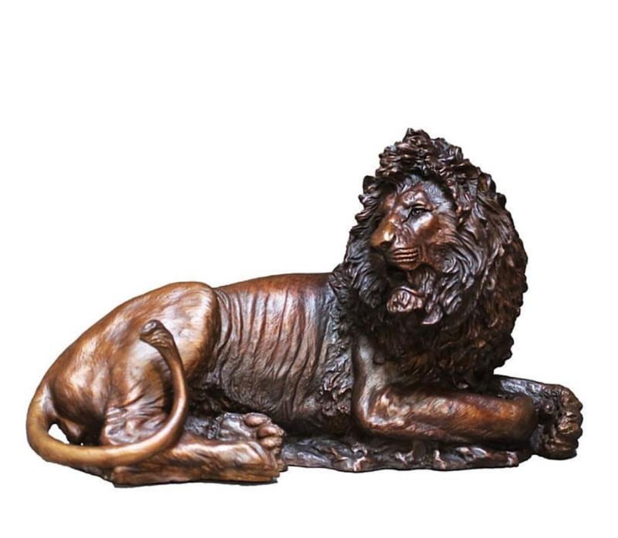 High Quality Garden Lying Lion Bronze Statue For Home Ornament