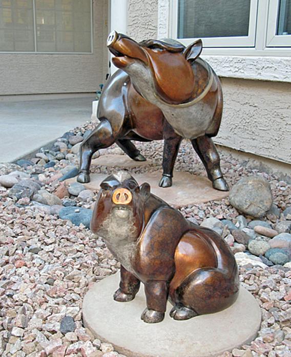 Small Life Size Outdoor Bronze Art of Javelina Statue