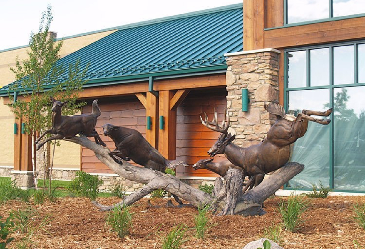 River Run bronze whitetail deer sculpture by John Parsons