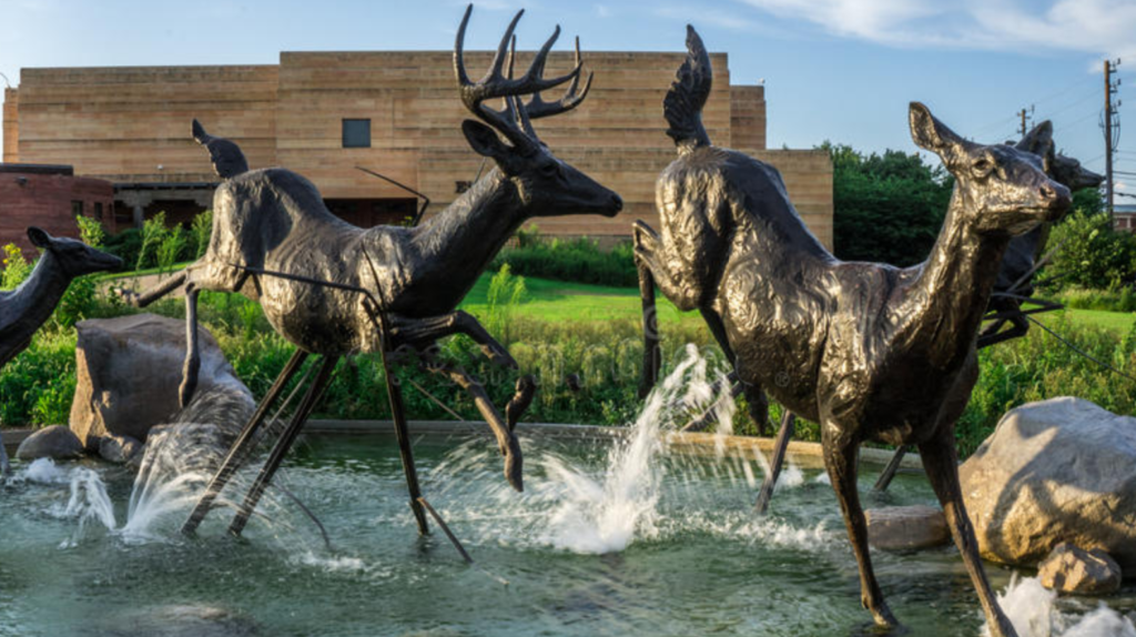 Large Life Size Bronze Statue of White Tailed Deer in the River